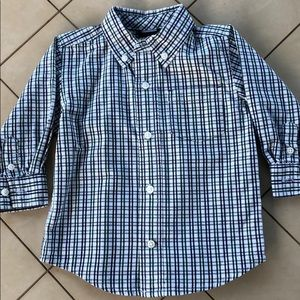 Gymboree Button Down Green & Navy Striped Shirt